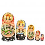 "Matryoshka with Cats, 5 pcs, 6"" / 15 cm"
