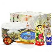 Russian Traditional Gourmet Gift Set with Red and Black Caviar