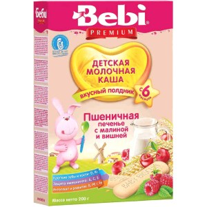 Baby Wheat Milk Porridge w/Raspberry Cookies & Cherry for Afternoon Snack, 6 +, Bebi, 200g/ 0.44 lb