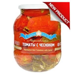 Premium Marinated Tomatoes w/Garlic, Kosher, Tescha's Recipes, 900 ml/ 1.98 lb