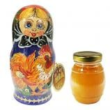 Natural Organic Honey in Handmade Wooden Matryoshka with Rooster 10.14 oz / 300 ml