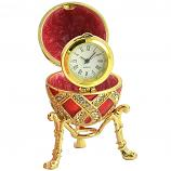"Russian Style Egg with Weaving Golden Pattern and a Clock (red), 2.8"" / 7 cm (WS-JB90695K1-C)"