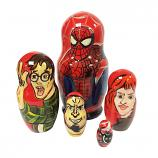"Spider Man Wooden Traditional Russian Nesting Doll Matryoshka, 5 pcs, 4"" / 10.5 cm"