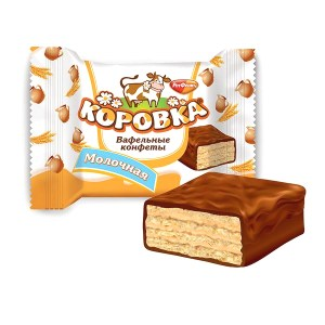 Wafer Candy Cow (Korovka) with Milk Flavor, 0.5 lb / 0.22 kg