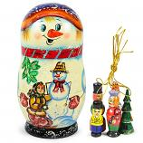 "Matryoshka Snowman Nesting Doll ""Korobeynik"" with 5 Ornaments, 6.5"""