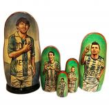 "Lionel Messi and Argentina National Football Team Nesting Doll (lacquer), 5 pcs, 6.75"" / 17 cm"