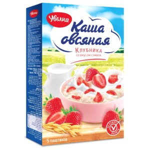 Instant Porridge Oatmeal + Strawberries & Cream (5 pcs*40g), Uvelka, 200 g/ 0.44 lb