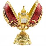 "Russian Style Egg with Cathedral of Christ the Saviour RED, 3.5"" / 9 cm (JD1301+SF2108)"