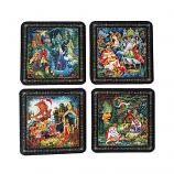 Coasters/ Palekh Russian fairy tales, 4 pcs
