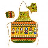 Kitchen Textile Gift Set Matryoshkas  - Potholder, Oven Mitt and Apron, 3 pcs