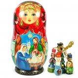 "Big Matryoshka Korobeynik with 6 Figurines ""The Birth of Jesus Christ"", 8"""