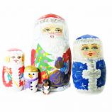 Handmade Santa Claus/Father Frost Gouache Painted Small Matryoshka, 5 pcs, 2.3""
