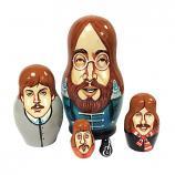"The Beatles Wooden Handmade Russian Nesting Doll Matryoshka, 5 pcs, 3.5"" / 9 cm"