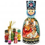 "Handmade Matryoshka Korobeynik Barynya ""Jesus Christ and Angels"", 8.5"""
