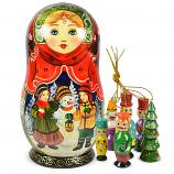 "Big Matryoshka Korobeynik ""Snowman"" with 6 Figurines (New Year Tree Ornaments), 8"""