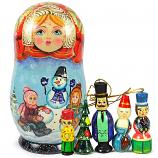 "Red Matryoshka Korobeynik ""Snowman"" with 5 Figurines (New Year Tree Ornaments), 7"""
