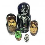 """Darth Vader and Star Wars Characters Matryoshka, 5 pcs, 4.5"""" (12 cm)"""