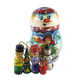 "Snowman Nesting Doll Matryoshka Korobeynik with 5 Figurines, 4.5"""