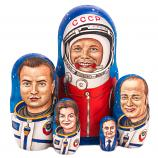 Yuri Gagarin and USSR Astronauts Wooden Nesting Doll, 8 inches, 5 pcs