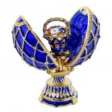 """Blue Faberge Style Egg with a Flower Basket, 2.75"""" (HJD0897A-3+HJF1838-3)"""