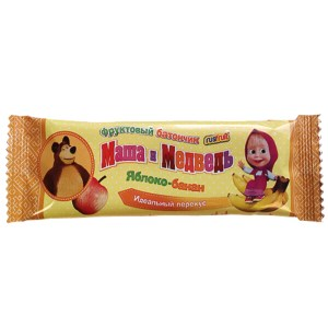 Fruit Bar Masha and the Bear, Apple+Banana, RusFruit ® , 25 g/ 0.055 lb