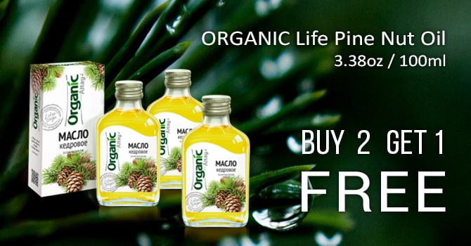 ORGANIC Life Pine Nut Oil, 3.38oz / 100ml Produced by Specialist, Altai Buy 2 and Get 3