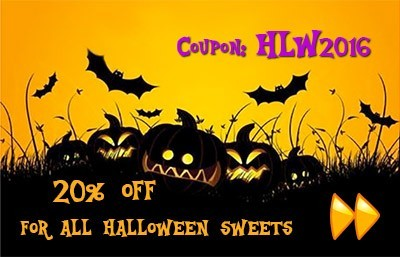 20% OFF for all Halloween sweets. Coupon: HLW2016